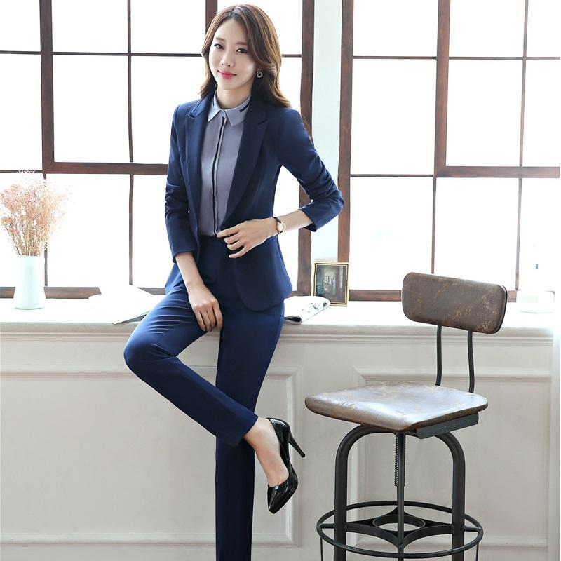 2018 Plus Size Formal Professional Pants Suits With Jackets And