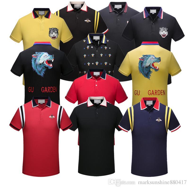 d41dc17e7c9 Polo Shirt Fashion Short Sleeved Animal Embroidery Holywood Polo T ...