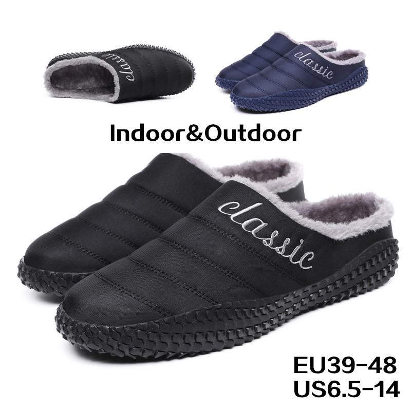 39f3fcdb8 House Slippers For Men Indoor Slipper With Warm Fully Fur Lined Winter Non  Slip Half Closed Back Slippers For Winter Outdoor Blue Shoes Womens Loafers  From ...
