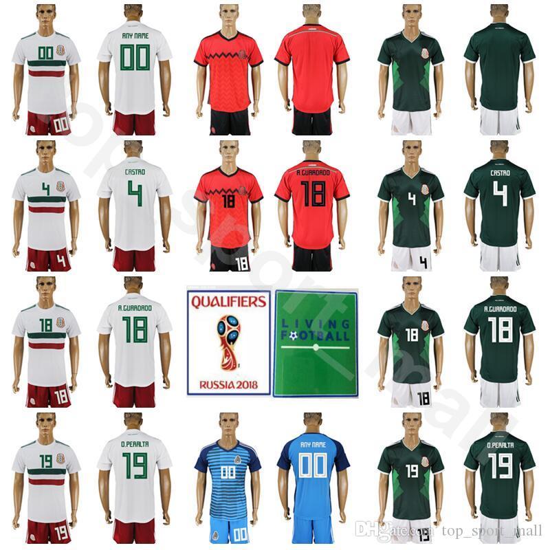 México 2018 Copa Del Mundo Camiseta De Fútbol Mexicano Juego 4 Rafael  Marquez 18 Camiseta De Fútbol Andres Guardado Kits 19 Oribe Peralta Con  Pantalones ... c0aa628f74fe9