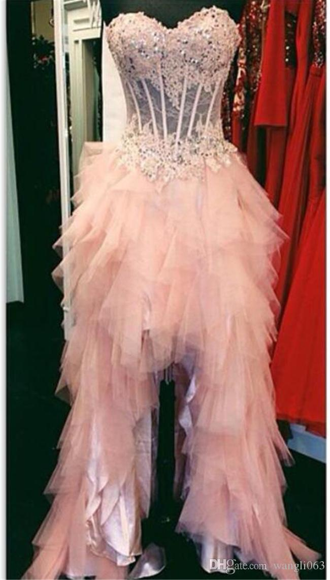 Pink Lace High Low Prom Dresses Real Photos Sweetheart Corset Short Front Long Back Formal Pageant Gowns Custom Made New Evening Party