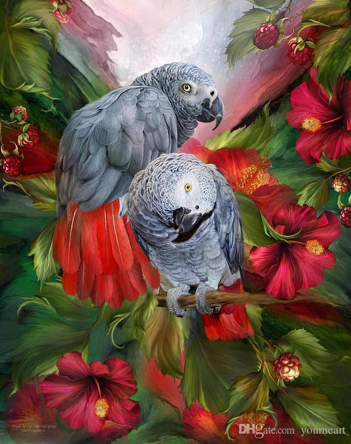 YOUME ART Giclee Animal the urge to merge african-greys oil painting arts and canvas wall decoration art Oil Painting on Canvas 60X76cm