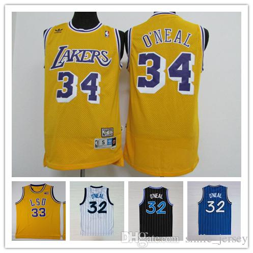 4620f7b6d 2019 Retro Mens 34 Shaquille O Neal Lakers Basketball Jerseys Stitched  Authentic Classic 32 Shaquille O Neal Retro Jerseys Yellow Black White Blu  From ...