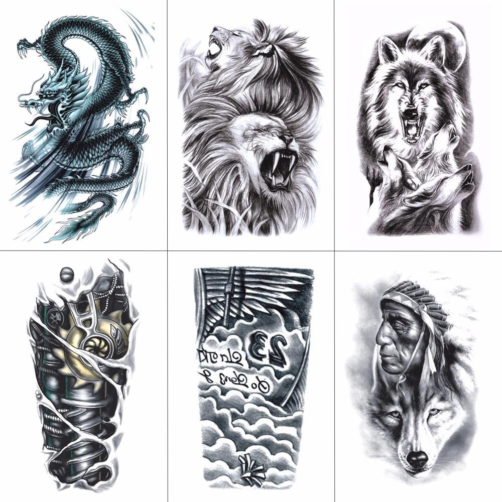 Wyuen Arm Sleeve Tattoo Sticker Temporary Tattoos Waterproof Men Fake Hand Tattoo Body Art 21x15cm Aq H001
