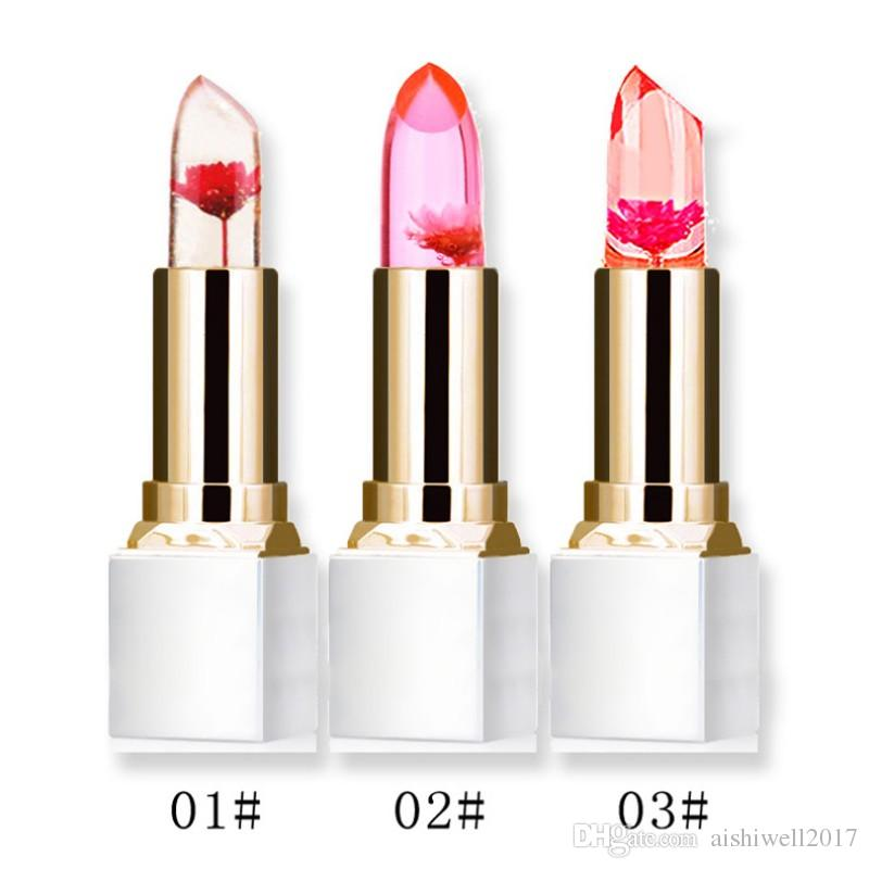 Wholesale Transparent Natural Red Lip Stick Temperature Color Change Long-lasting Moisturizer Flower Jelly Lipsticks Shiny Makeup