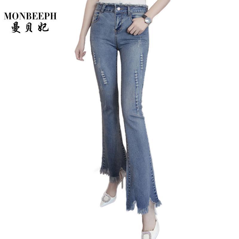 ed35659f0a4ae Acheter Nouveau Slim Stretch Taille Haute Jeans Femme Scratch Worn Feet  Vintage Pompon Bleu Flare Pantalon Femmes Jeans Plus La Taille S 4XL De   26.77 Du ...