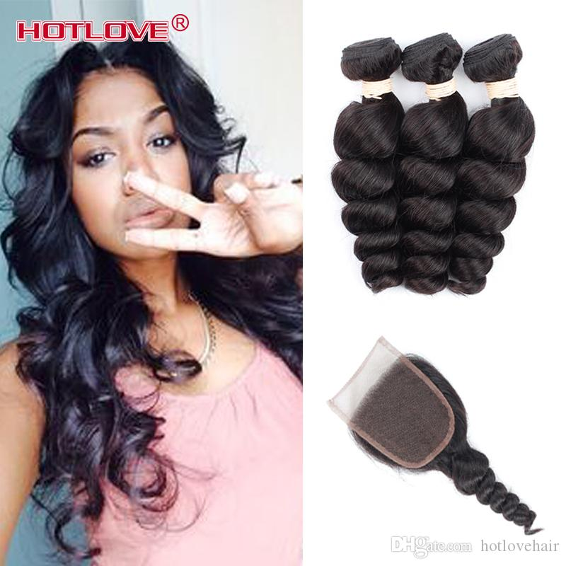 8A Peruvian Loose Wave 3 Bundles With Closure Hair Bundles With Lace Closure Peruvian Virgin Hair With Closure Cheap Human Hair