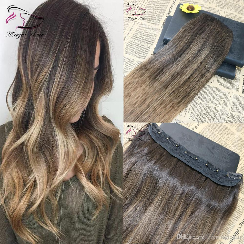 5 Clips One Piece Clip In Human Hair Extensions With Lace Straight