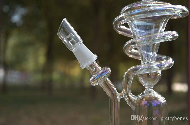 Clear Color Water Pipes with 14.5mm Joint Dab Bubble Inline Perc Glass Spiral Recycler Oil Rigs Pipes
