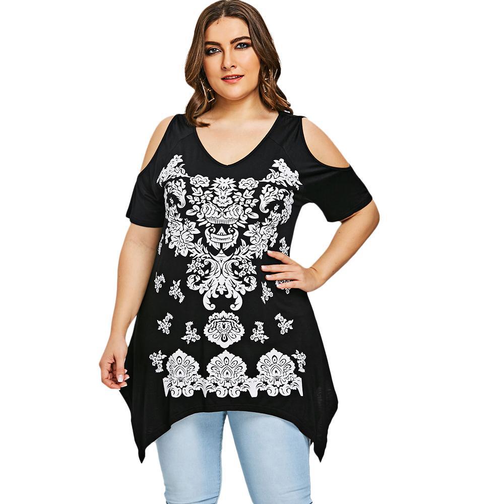 f4e89a7c5e3fa Gamiss Plus Size Arab Crescent Hem T Shirt Summer V Neck Cold Shoulder T Shirt  Women Tops Tees New Casual Big Size Clothing 5XL Humorous T Shirts T Shirts  ...