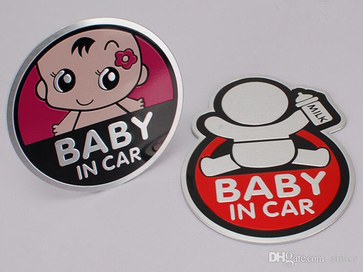 Auto 3d Aluminium Aufkleber Mode Baby In Auto Personalisierte Warnung Aufkleber Reflektierende Wasserdichte Autofenster Vinyl Aufkleber