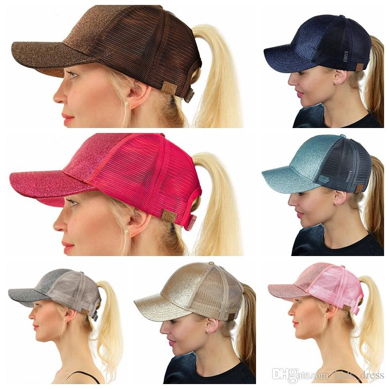 Glitter CC Ponytail Baseball Cap Messy Bun Summer Mesh Caps For Women  Sequins Shine Snapback Hats Hip Hop Hat KKA4428 CC Ponytail Hat CC Hat  Trucker ... fc071d0467a0