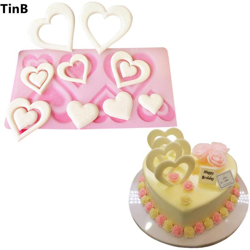 Grosshandel Valentinstag Geschenk Herz Silikonform Kuchen Dekorieren
