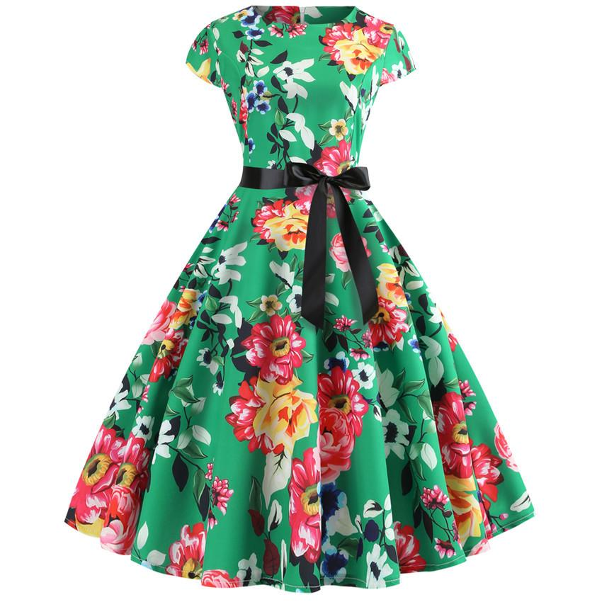 huge discount c4665 3473f Abito vintage donna 2019 Summer Floral Print manica corta Abiti anni 50  anni 60 Office Party Rockabilly Swing Retro Pinup Plus Size