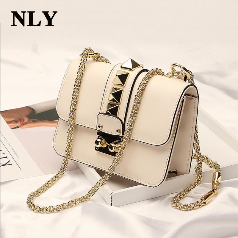 a9af54f07b3 2017 Fashion Ladies Womer Leather Handbag Shoulder Crossbody Messenger Bag  Mini Lock Stud Pyramid Rivet Chain Strap Bag Cheap Purses Handbags For  Women From ...