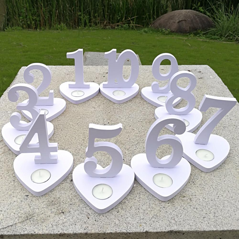 2018 1 10 Wooden Wedding Table Number Signs White Wood Table Number ...