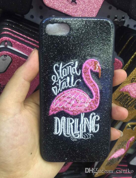 Neue Heiße Flamingo TPU Glitter Telefon Fall Zurück Abdeckung Schutzhüllen Schalen für iPhone X 8 7 6 Plus 4 Farben