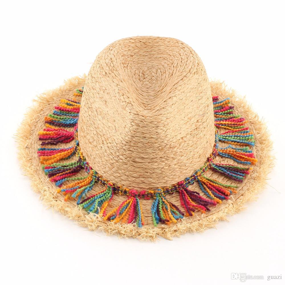 Women Summer Tassel Sun Hats Ladies Natural Raffia Beach Straw Hat Panama  Fedoras Capeline Chapeaux Femme Canada 2019 From Guazi 7c83bf0f774