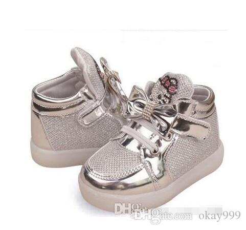 Kids Casual Led Shoes Girls Glowing Sneakers Children KT Cat Shoes With  Light Baby Girl Lovely Boots Size 21 30 Children S Shoes White Sports Shoes  For Kids ... c3bdb4be3ee