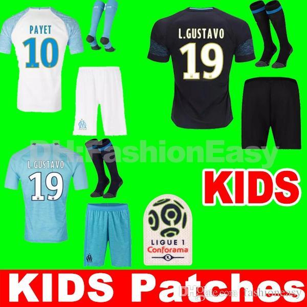 6677ec33a44 Thailand Top 18 19 Soccer Jersey 2018 2019 Kids Kit Marseille ...