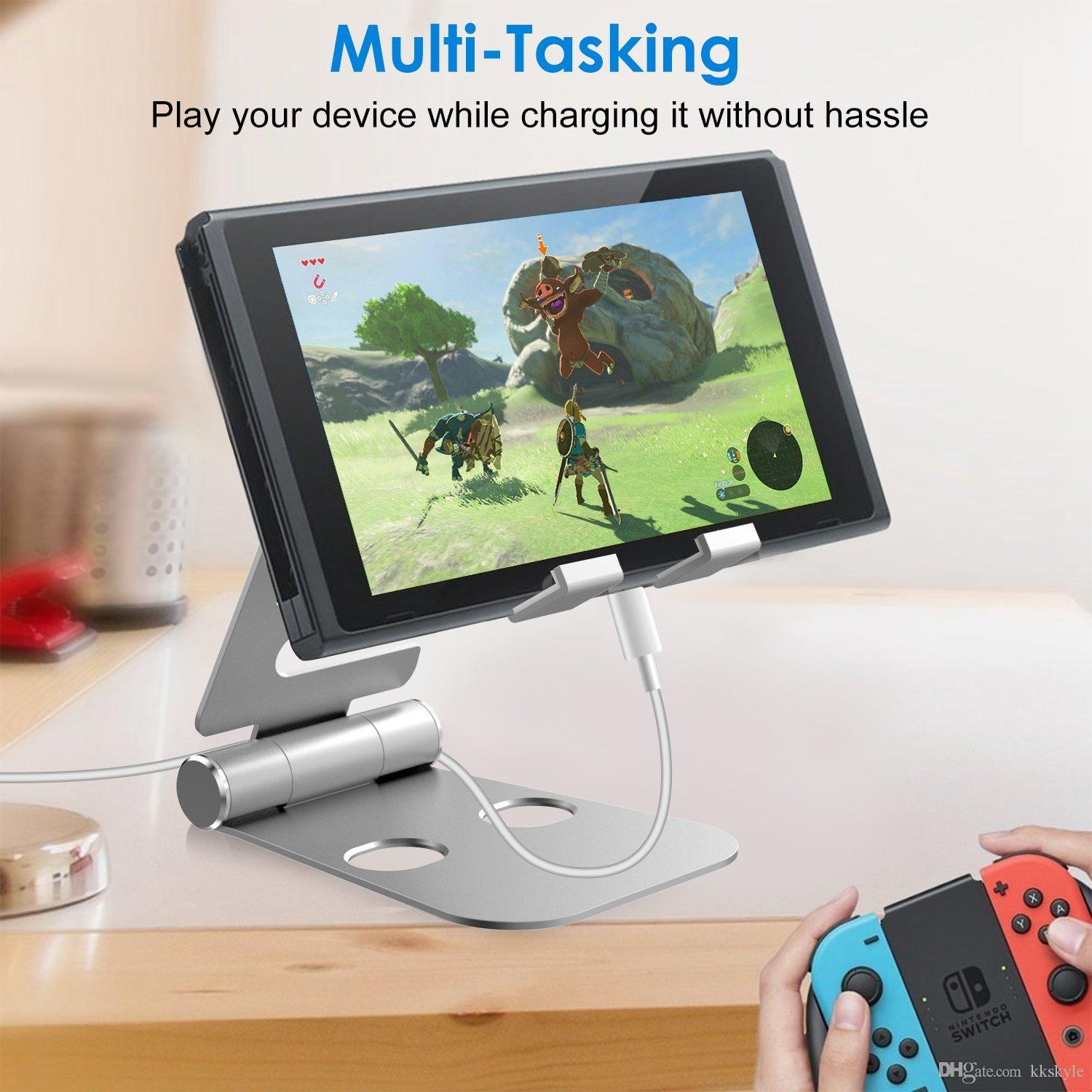 2-in-1 Alluminum Stand for Smartphones and Apple Watch, Foldable Holder, Multi-Angle Desktop Cradle, Adjustable Charging Dock
