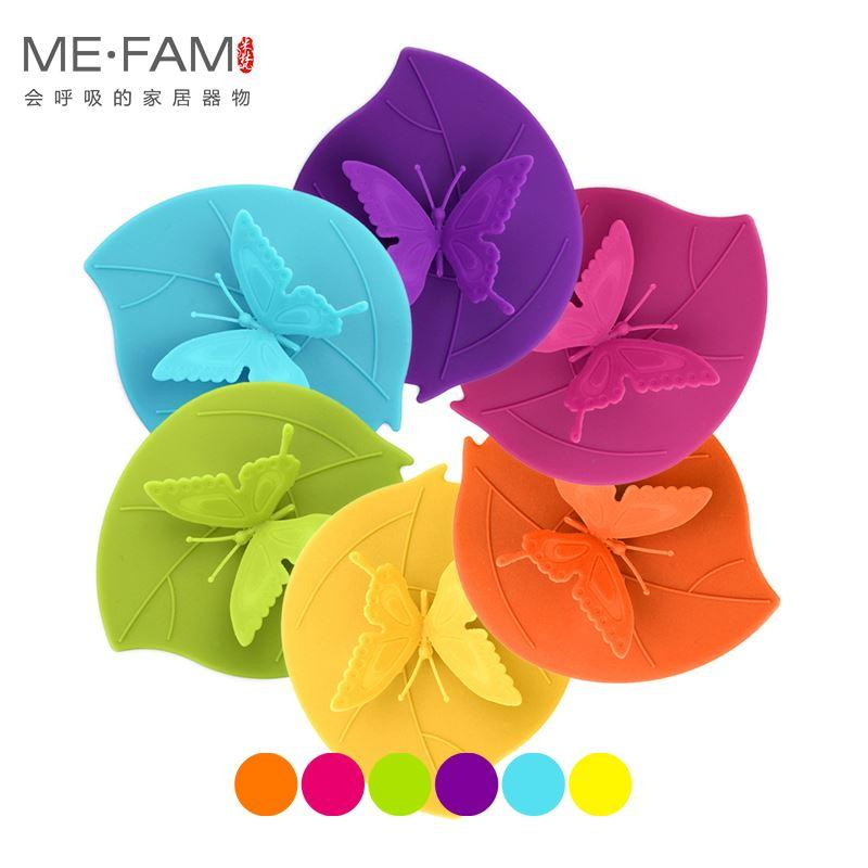 Fashion Colorful Lovely 3D Butterfly Silicone Cup Cover 10.5 cm Dustproof Seal Lid Glass Ceramic Plastic Mug Cap