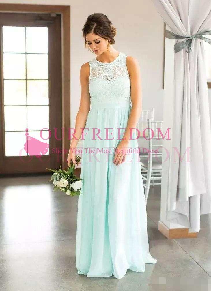 2019 Mütevazı Nane Yeşil Gelinlik Modelleri Jewel Uzun Dantel Şifon Flowy Etek Ülke Bohemian Plaj Onur Düğün Parti Elbise Maif