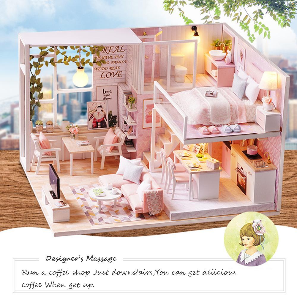 Großhandel Montieren DIY Puppenhaus Mit Spieluhr Holz Küche Zubehör ...
