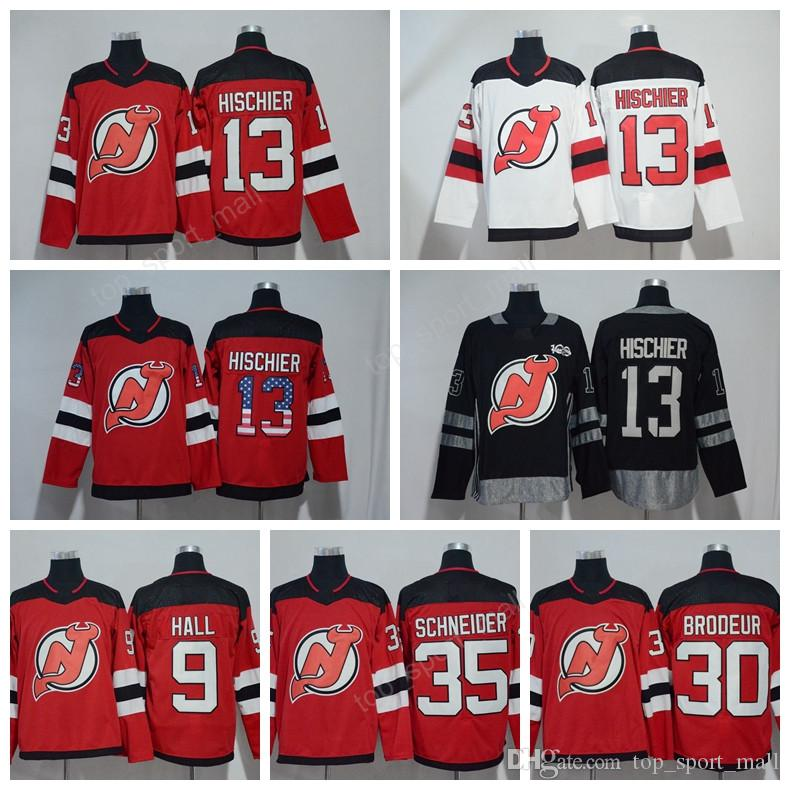 outlet store sale e690f 88c33 Nico Hischier Jersey 13 Ice Hockey 100th Anniversary USA Flag New Jersey  Devils Jerseys 9 Taylor Hall 30 Martin Brodeur 35 Cory Schneider