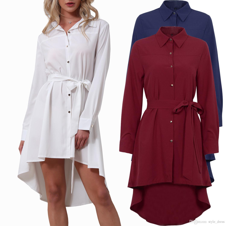 55b6692d6da Acheter Robe Chemise Femme Col Rond Manches Longues Ceinturée Asymétrique  Travail D été Bureau De  19.1 Du Style dress