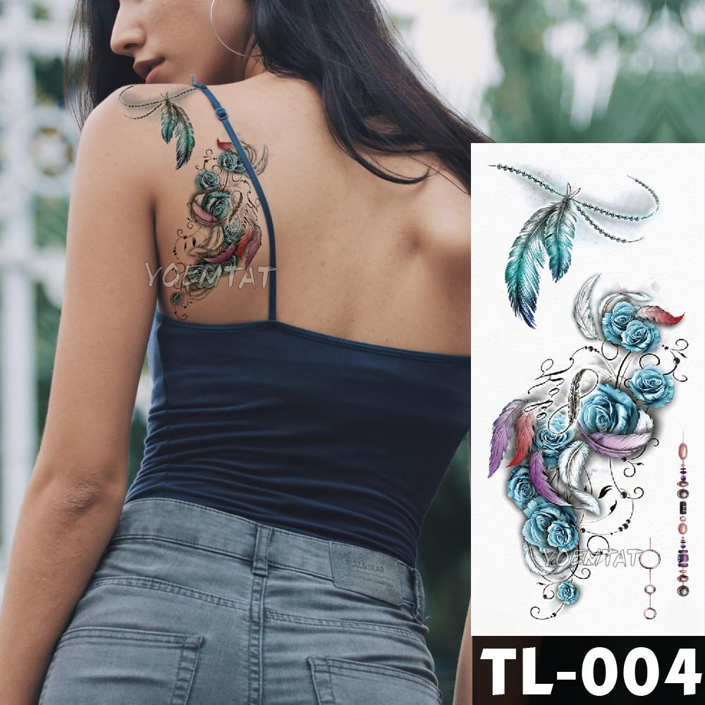 Blue Rose Flower Tattoo Stickers Feather Watercolor Fox Girls Chest