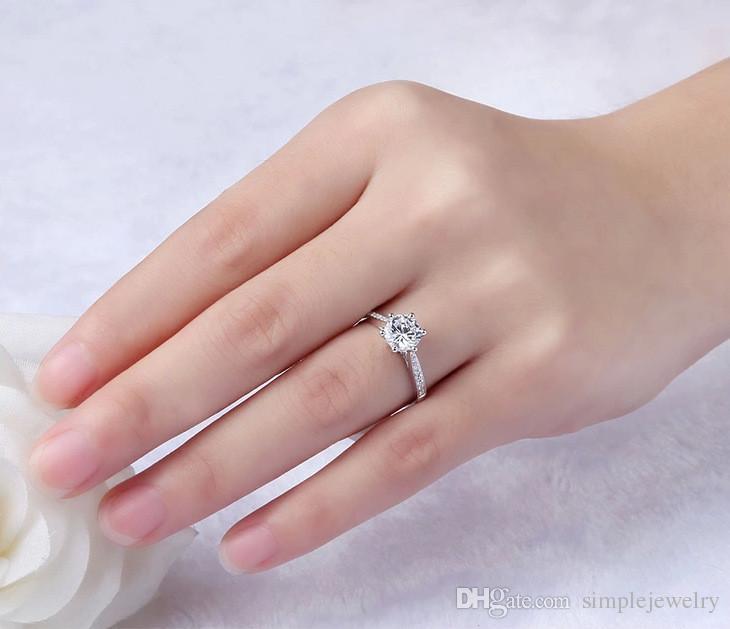Choucong Коготь набор 1.5 карат камень алмаз стерлингового серебра 925 женщин обручальное кольцо обручальное кольцо США Sz 4-10 подарок