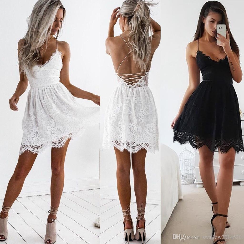 Halter Backless White Lace Dress Women Sexy Lace Up Hollow Out