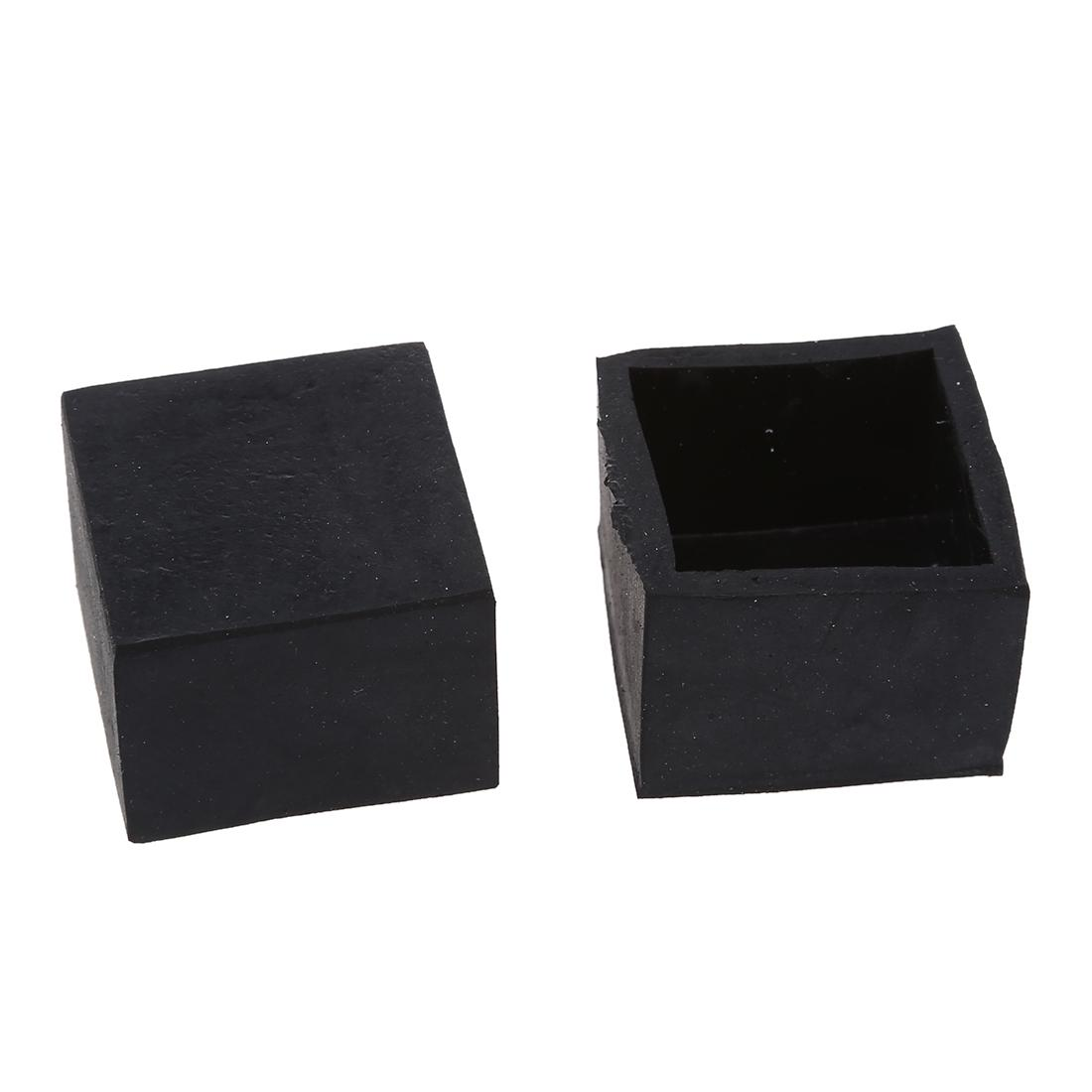 Black Chair Table Leg Rubber Foot Covers Protectors 28mm X 28mm Mats