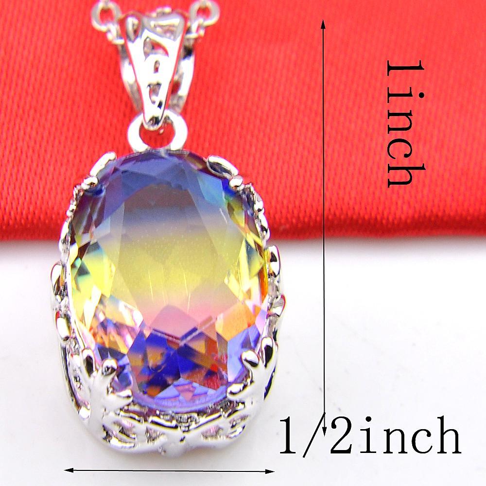 Handmade 925 sterling silver exquisite Vintage Rainbow Bi-Colored Tourmaline Gemstone Silver Necklace Pendants