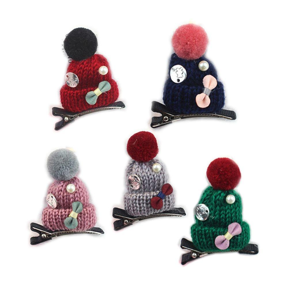 Styling Handmade Colorful Children Fashion Accessories Hairpin Girls Christmas Hair Clip Hat Shaped Knitted