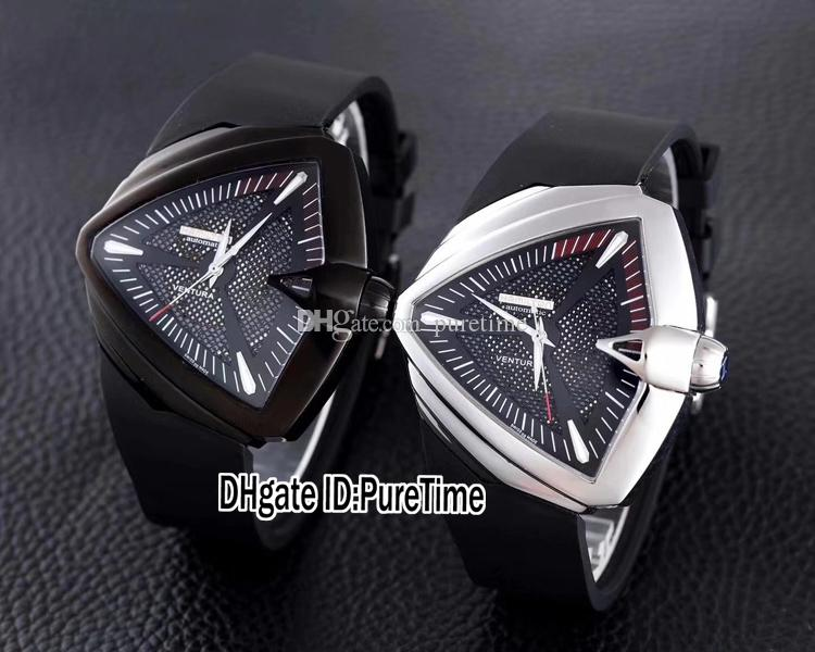 New Ventura H24585331 XXL Auto Adventure And Concept Design Triangle Steel Case Black Dial A2824 Automatic Mens Watch Rubber Sports Watches