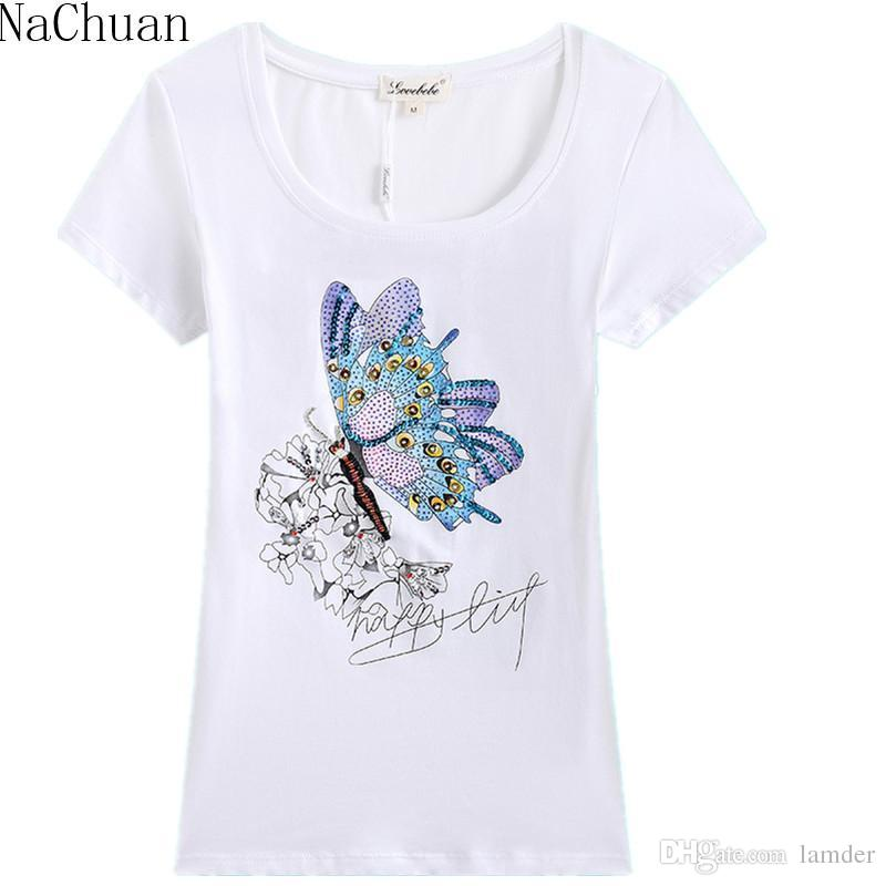 463cac65789 Wholesale NA CHUAN Fashion Women Girls Lady Casual Butterfly Print Short  Sleeve Cotton Slim Top Shirts Plus Size Rhinestone Price Lucky Really Cool  T Shirts ...