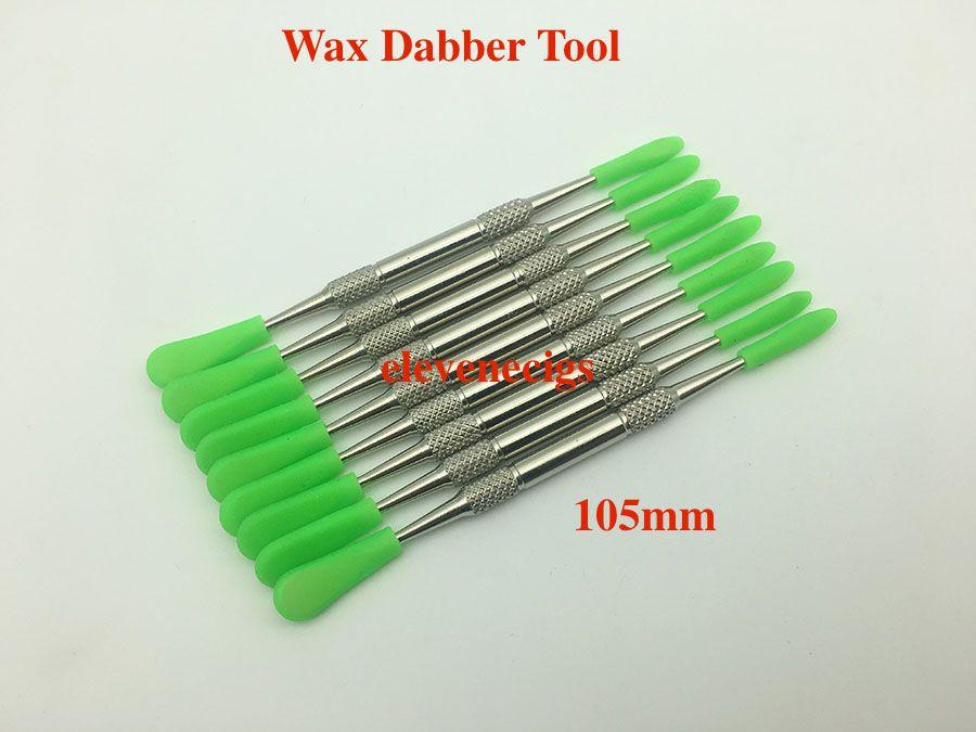 E-сигарета аксессуары Wax Dabber Tool из нержавеющей стали DAB инструменты с силиконовыми колпачками для сухого травяного испарителя ручка сковороговой стеклянный глобус