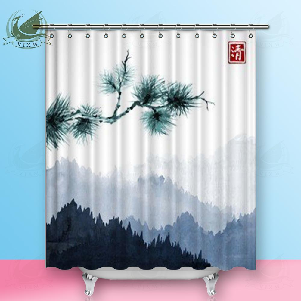 2019 Vixm Home Green Trees And Blue Mountains Fabric Shower Curtain Oriental Ink Painting Bath For Bathroom With Hook Rings 72 X From Bestory