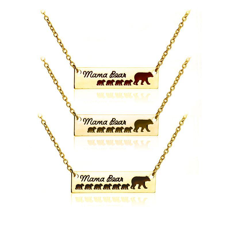Inspiré Argent Plaqué Bar Collier Polar Mama Ours Babys Ours Collier Cadeaux pour Maman Femme Cadeau De La Fête Des Mères Anniversaire Souvenir