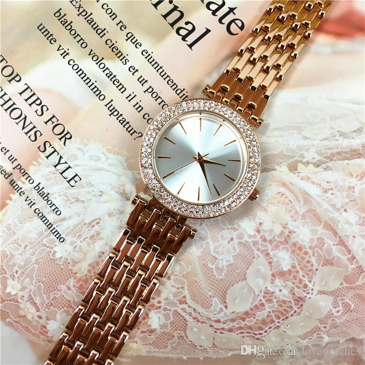 Special Design Women watches Rose Gold Steel Bracelet Chain Lady Wristwatches Nobel Female Quartz Free box Relogio Masculine Luminous hands