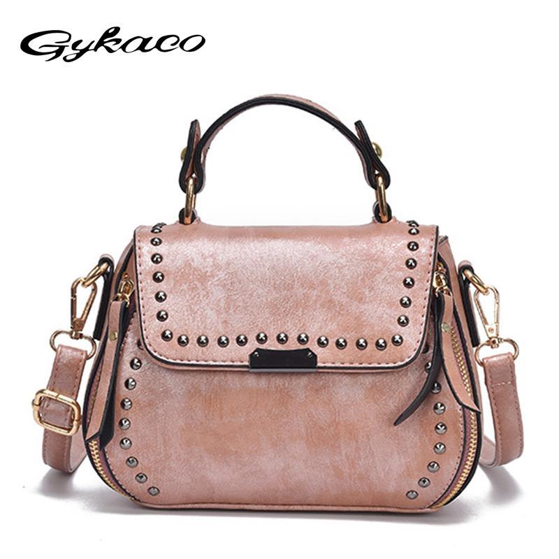 55a2694b9380 Gykaeo Brand Luxury Handbags Women Bags Designer Rivet Tote Casual ...