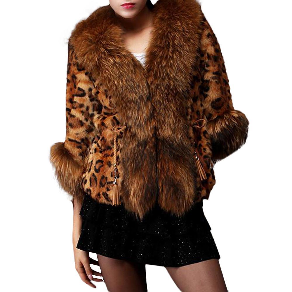 017f863e06df7 Compre ISHOWTIENDA Abrigo De Piel Sintética Para Mujer 2018 Parka Leopard  Print Otoño Invierno Faux Fur Coat Coat Overcoat Manteau Femme A  29.93 Del  Sikaku ...