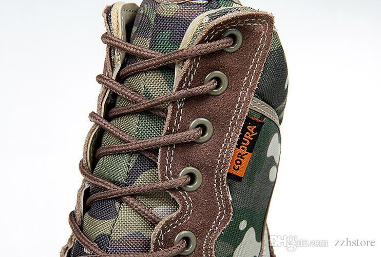 2018 com caixa de botas de Camuflagem soldados especiais botas táticas campo batalha alta botas de deserto outono inverno novo produto sapato de montanha