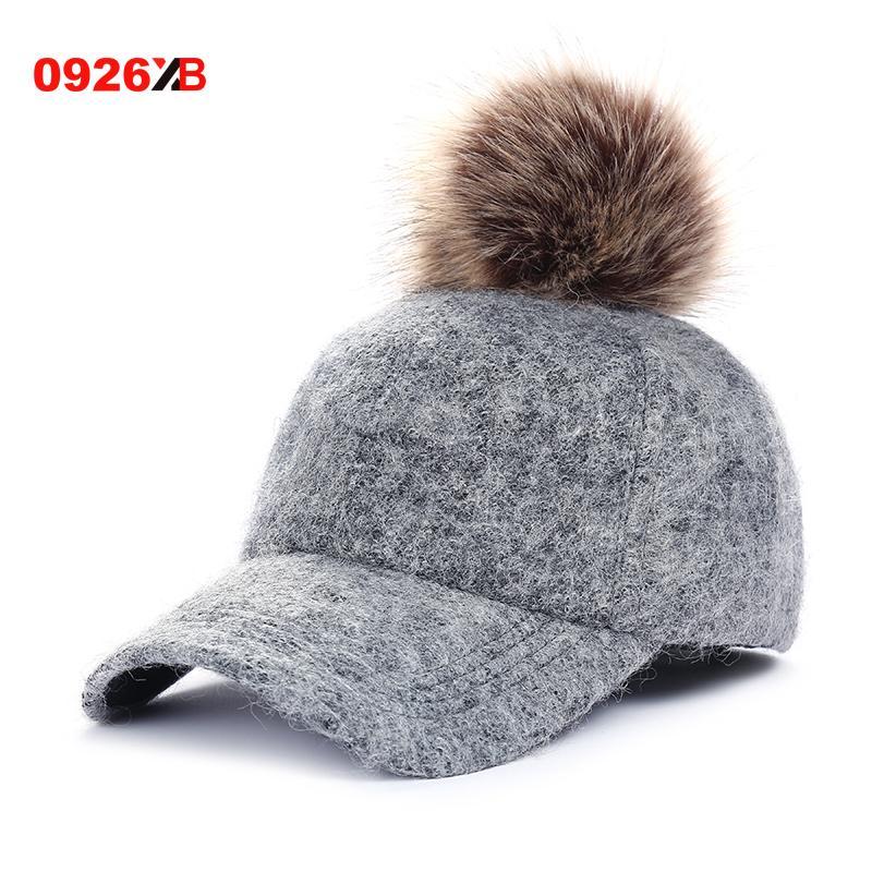 c4f5c856692e1 0926XB Fashion Pompom Hat Women Baseball Caps Real Racoon Fur Pom Poms Hats  for Women Visor Casquette Hats Female Cap XB-B552