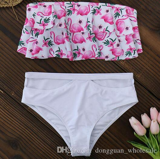 90275f5d03 Acheter Sexy Double À Volants Bikinis 2019 Nouvelle Impression Maillots De  Bain Femmes Maillot De Bain Bikini Brésilien Ensemble Halter Push Up  Maillots De ...