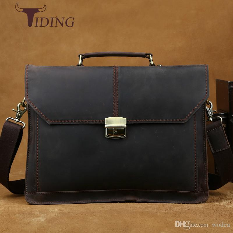 25fd82180de Wholesale Luxury Vintage Handmade Leather Messenger Laptop Bag Business Crazy  Horse Satchel Briefcase Men S Bags Shoulder Crossbody Ba Shoulder Bags For  Men ...