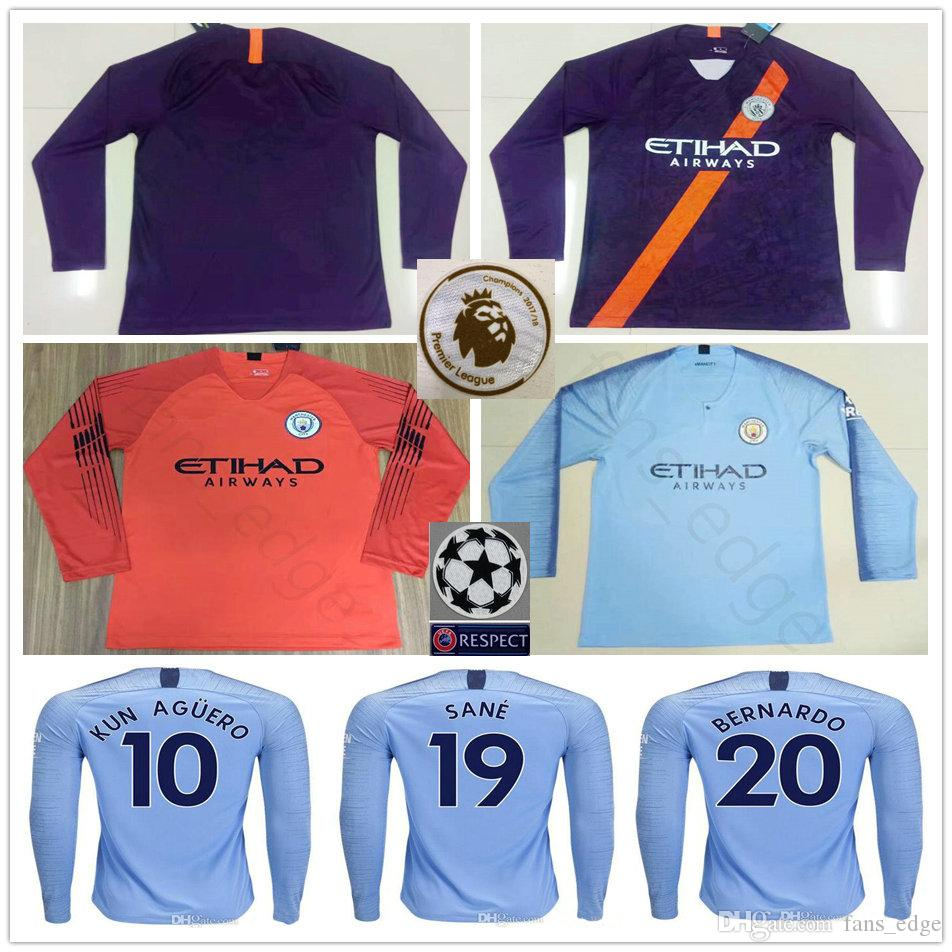 Custom 18 19 Manchester City Long Sleeve Soccer Jerseys KUN AGUERO G ... a776ad470eba