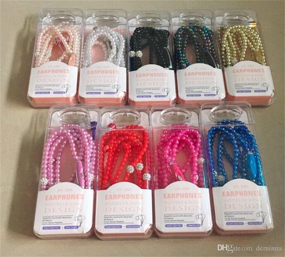 Luxusrhinestone-Schmucksache-Perlen-Halsketten-Kopfhörer mit Mikrofon Rosa-Mädchen-Ohrhörer-Kopfhörer für Iphone HuaWei XiaoMi bestes Geschenk